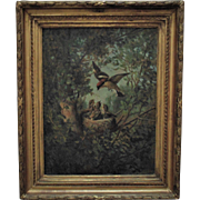 "19th c. Painting ""The Nestlings"" Birds Signed William (Holbrook) Beard Antique Oil on Canvas"