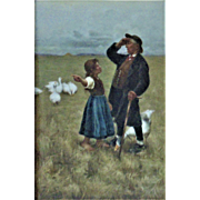 Antique German Porcelain Plaque Tile Painting Man Girl Goose Geese Unterwegs Dresden Framed Hartmann