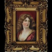 Antique Miniature Portrait Porcelain Plaque Tile Painting Woman Lady