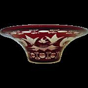 Vintage Bohemian Ruby Red Etched Glass Bowl w/ Bird Deer Czech Czechoslovakian