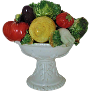 Vintage Italian Modern Bowl with Fruit & Vegetable Centerpiece Italy Faience Majolica