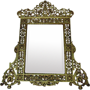 LARGE 19th c. Aesthetic Eastlake Table Gilt Mirror Cast Iron Beveled Glass Victorian Antique Free Standing or Hanging