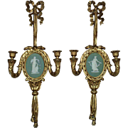 LARGE Pair Antique Victorian Wedgwood Jasperware Candle Wall Sconces Green Plaque Gilt Wood