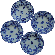 "Set of 4 Antique Flow Blue Soup Bowls J. G. Meakin ""Colonial"" Pattern Transferware English England"
