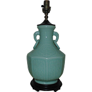 Chinese Celadon Green Vase Form Lamp w/ Elephant Head Handles Asian Oriental