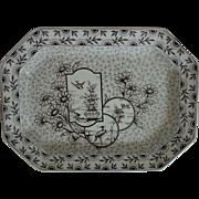 Antique Aesthetic Platter Ridgway Devonshire Eastlake Brown Transferware Birds Flowers England English
