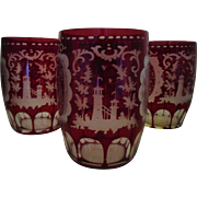 4 Vintage Bohemian Ruby Etched & Cut Glass Glasses Tumblers Dogs & Deer Stag