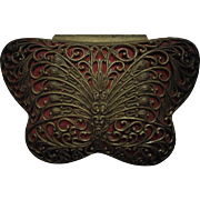 Vintage Art Deco Filigree Butterfly Jewelry Dresser Vanity Trinket Box
