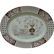 19th c. Aesthetic Eastlake Turkey Platter W. T. Copeland Brown Transferware England English