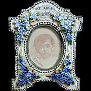 Antique Victorian Micromosaic Miniature Picture Frame Micro Mosaic St. Louis 1904 & Photo of Boy Photograph Forget-Me-Nots Flowers Floral