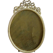 19th c. Victorian Miniature Oval Picture Frame Roses Ribbon Bow Gilt Metal Antique Brass