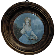 Vintage Miniature Portrait Painting Young Lady w/ Roses Flowers French France