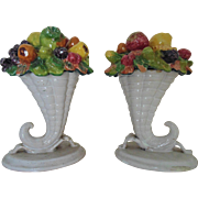 Pair Vintage Italian Fruit Cornucopia Baskets Faience Majolica Italy Mid Century Modern Horn of Plenty Candy Dishes Bowls