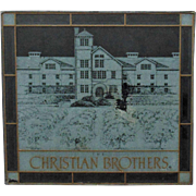 Vintage Christian Brothers Winery Wine Vineyards Stained Glass Advertising Sign