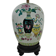 LARGE Chinese Ginger Jar Table Lamp Enameled Porcelain Asian Oriental Vintage