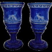 Pair Cobalt Blue Bohemian Glass Mantle Lusters Candle Holders Etched & Cut Deer Buck Trees Birds Vintage