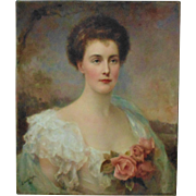 19th c Portrait Painting of  Lady Woman w/ Roses Signed Edward Hughes Victorian Antique c. 1897 Oil on Canvas Johanna Heckscher Burnham