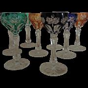 Set of 8 Elegant Bohemian Crystal Cut Glass Cordials Glasses Vintage Liqueur Aperitif