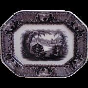 19th c. Mulberry Platter Transferware  P. W. & Co. Podmore Walker & Co. Ironstone Stoneware Antique England English