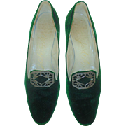 Vintage Lord & Taylor Womens Ladies Dress Shoes Pumps Heels Green Velvet w/ Pilgrim Buckle Size 7