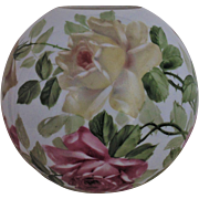 """LARGE 10 1/2"""" Ball Globe Glass Roses Lamp Shade for GWTW Banquet Piano Oil Kerosene Lamps Gone With the Wind"""