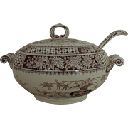 19th c. Brown Transferware Covered Casserole Soup Tureen w/ Ladle Aesthetic Eastlake English England Victorian