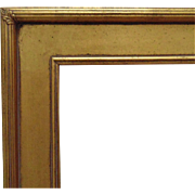 "Vintage Arts & Crafts Style Picture Frame Gilt Lemon Gold Wood 36"" x 24"" Opening Mission Bungalow for Painting Print Mirror"
