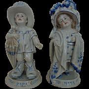 Sweet 19th c. German Porcelain Mama & Papa Figurines Blue & White Children Boy Girl Antique
