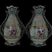 Antique Pair Noritake Porcelain Vases Moriage Japanese Japan Asian Oriental