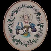 Antique Miniature Portrait Woman Lady Watercolor Painting in Gilt Wood Picture Frame