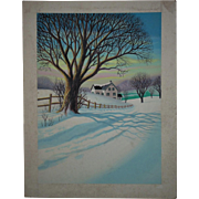 Vintage Lloyd Rognan Watercolor Painting Landscape Winter Scene Listed Artist Illustration Art
