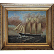 Clipper Ship Painting Oil on Canvas Signed D. Taylor Listed Artist Nautical Maritime American & French Flags Sailing Schooner