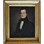 18th / 19th c. Antique Painting Portrait Gentleman Oil on Canvas with Gilt Wood & Gesso Frame American School