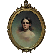 19th c. Victorian Portrait Painting Girl Young Lady Samuel Bell Waugh Oil on Board in Antique Gilt Wood & Gesso Frame
