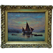 Antique Painting Sailing Ship Harbor Maritime Nautical Oil on Canvas Signed E. Myron Clark c. 1907 in Fancy Gilt Wood & Gesso Frame