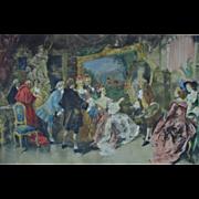 LARGE 19th c. Vincent de Garcia Paredes Lithograph Print Hand-Colored Antique