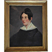 Antique Portrait Painting Lady Woman Oil on Canvas Signed A. Loos, 1851 Flemish