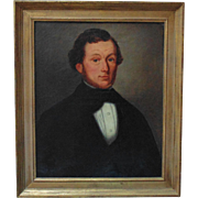 Antique Portrait Painting Man Gentleman Oil on Canvas Signed A. Loos,  c. 1851 Flemish