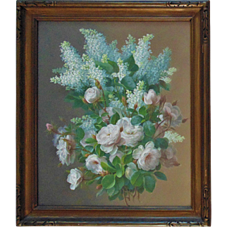 Raoul Maucherat de Longpre Gouache Painting of Lilacs & Roses Floral Flowers Still Life Signed Victorian Antique French