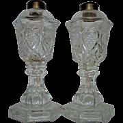 Antique Pair 19c Flint EAPG Glass Whale Oil lamp Heart & Waffle Pattern Victorian