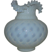 """1 of 2 Vintage Fenton Shades for Banquet Piano Oil Kerosene Lamp White Opalescent Glass w/ Ruffled Edge 4 1/4"""" Fitter"""
