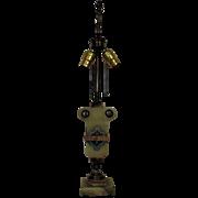 Antique Onyx, Marble & Cloisonne Table Lamp