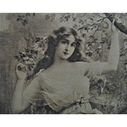 19c Antique Victorian Steel Engraving of a Beautiful Lady Woman J. Lemaitre