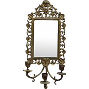 19c Antique Victorian Wall Mirror Candle Sconce Brass w/ Beveled Glass