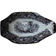 UNUSUAL 19c Antique Mulberry Transferware Serving Plate Bowl w/ Face Ironstone Flow Blue