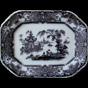 19c Mulberry Corean Pattern Platter Podmore & Walker Co. P. W. & Co Ironstone Transferware Staffordshire England