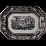 19c Mulberry Platter T. Walker Tavor Pattern Ironstone Transferware Staffordshire England