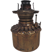 19c Victorian Brass Font Oil Kerosene Consolidated for GWTW Banquet Piano Lamp Antique Burner & Shade Ring