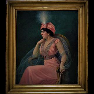 Antique Portrait Painting Lady Woman Oil on Canvas Signed Heinrich Michaelis c. 1911 German