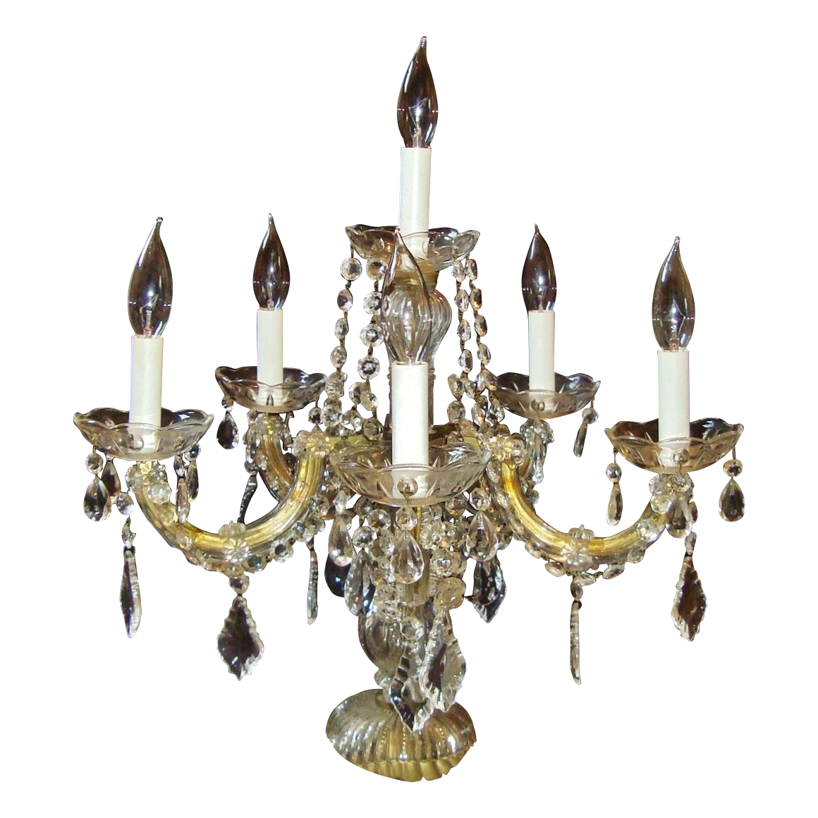 Vintage Art Deco 6 Light Beaded Prism Italian Glass Candelabra Lamp Candelabrum Lusters Lustres Shabby Cottage Chic